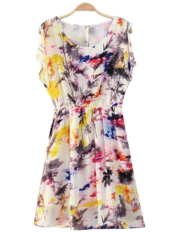 online Colorful Print Back Buttons Dress - COLORMIX S