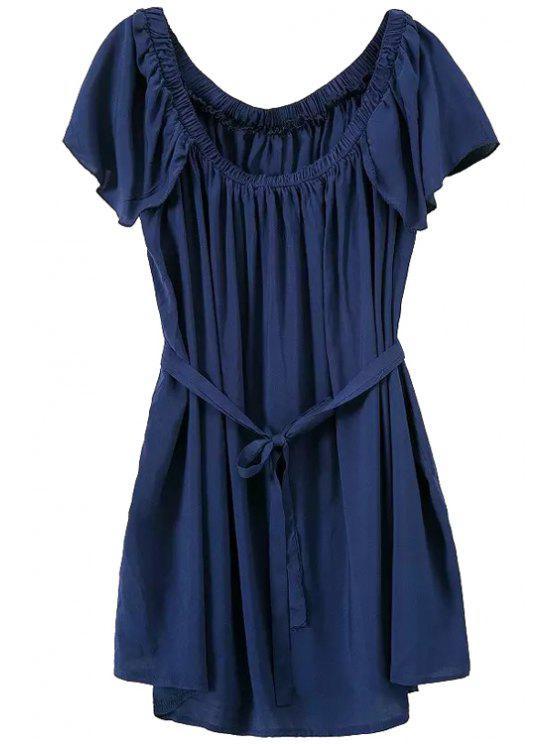 women Flounce Splicing Ruffle Tie-Up Dress - PURPLISH BLUE ONE SIZE(FIT SIZE XS TO M)