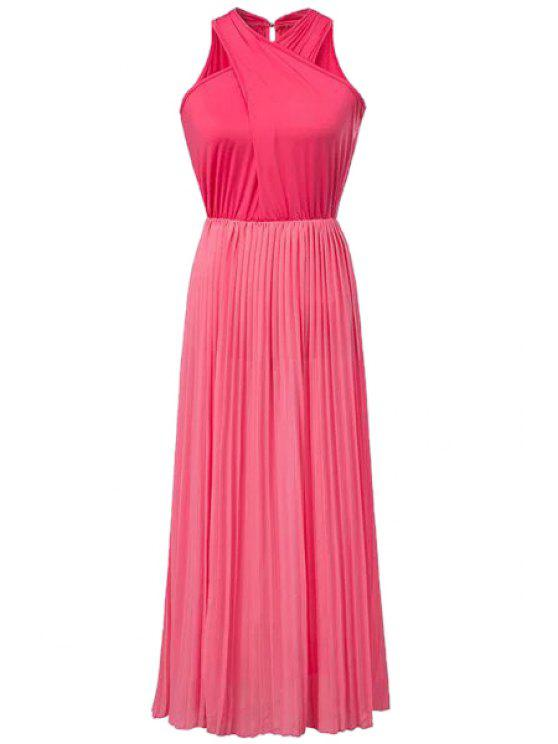 womens Solid Color Cross Ruffle Pleated Dress - RED S