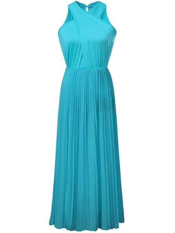 Solide Color Cross Ruffle Robe plissée - Bleu Léger  S