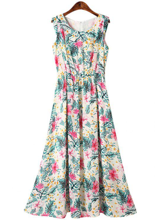 outfit Ruffle Floral Print Sleeveless Dress - GREEN S
