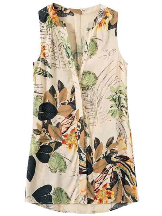 chic Leaves Floral Print Sleeveless Shirt - COLORMIX S