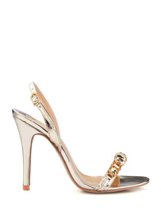outfit Stiletto Heel Rhinestones PU Leather Sandals - GOLDEN 35