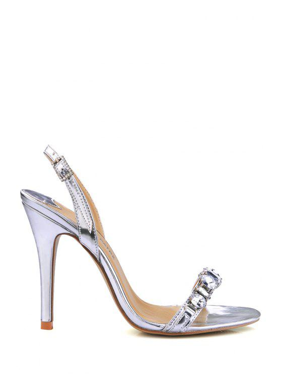 affordable Stiletto Heel Rhinestones PU Leather Sandals - SILVER 39
