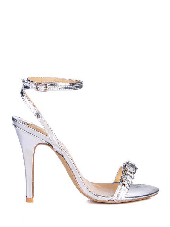 womens Ankle Strap Rhinestones Stiletto Heel Sandals - SILVER 35