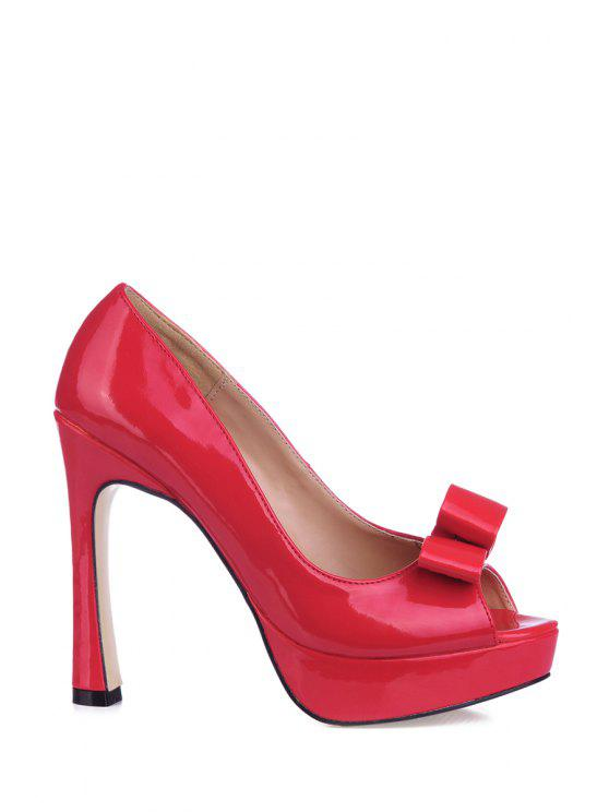 fancy Patent Leather Bowknot Peep Toed Shoes - RED 35