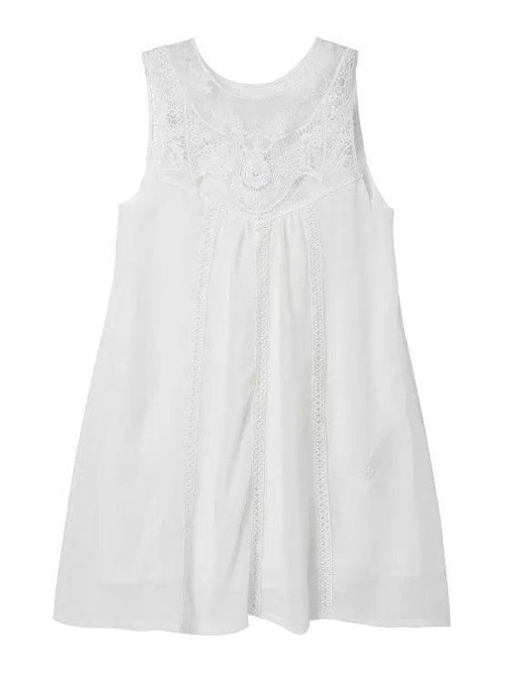 affordable Lace Spliced White Sundress - WHITE S