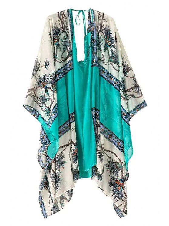 shop Print Color Block Loose-Fitting Dress - TURQUOISE ONE SIZE(FIT SIZE XS TO M)