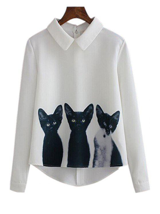 womens Three Cats Print Long Sleeve Shirt - WHITE S