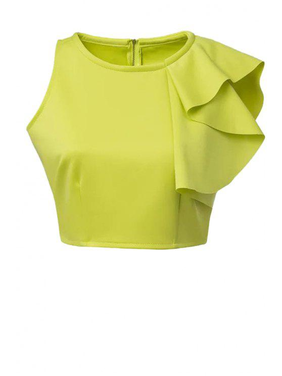 latest Solid Color Ruffles Crop Top - GREEN L