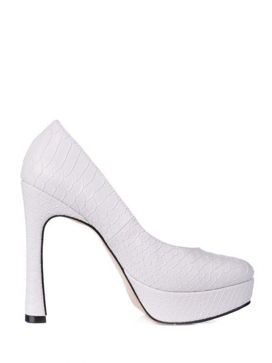 lady Snake Print White PU Leather Pumps - WHITE 35