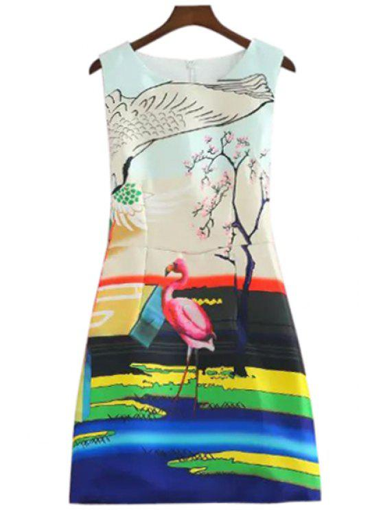 chic Flamingo Print A-Line Sundress - COLORFUL M