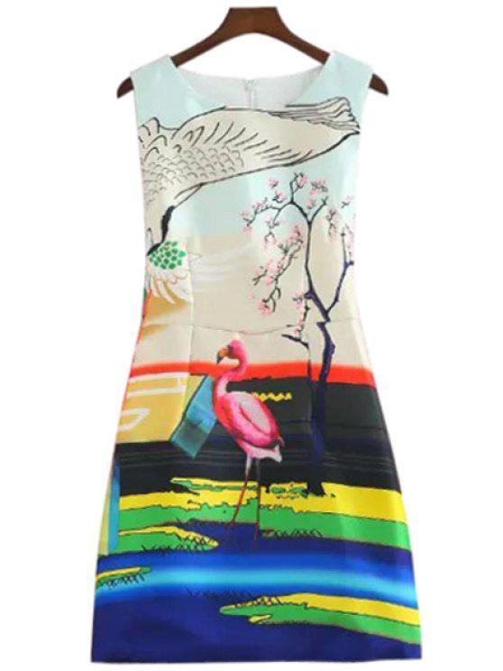 chic Flamingo Print A-Line Sundress - COLORFUL M