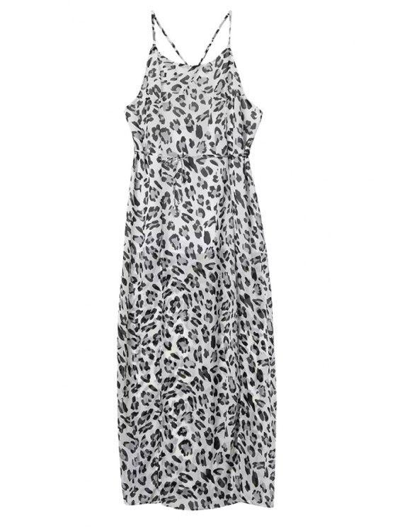 womens Leopard Spaghetti Straps Maxi Dress - LEOPARD S