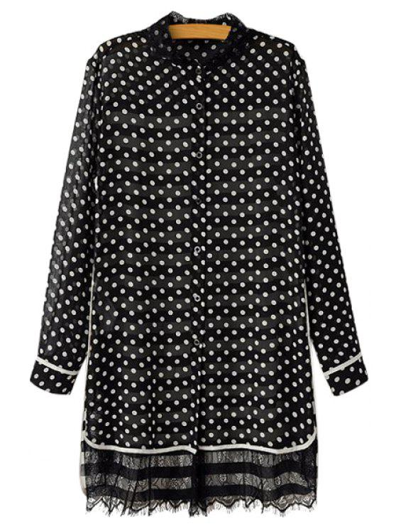 ladies Polka Dot Stripe Lace Splicing Shirt - BLACK ONE SIZE(FIT SIZE XS TO M)