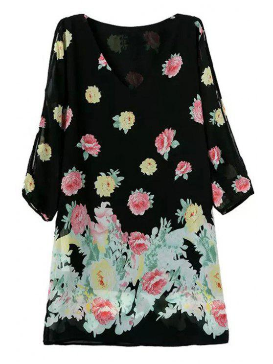 ladies Floral 3/4 Sleeve Off-The-Shoulder Dress - BLACK S