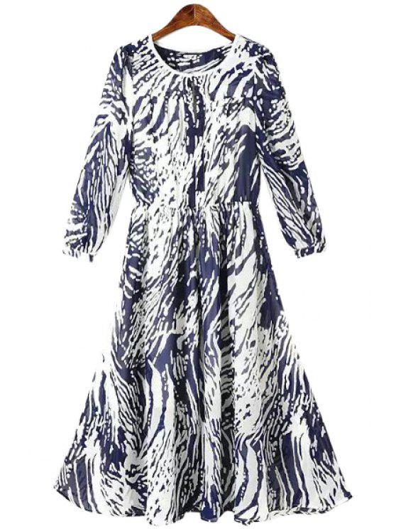 women Print 3/4 Sleeve Chiffon Maxi Dress - PURPLISH BLUE S