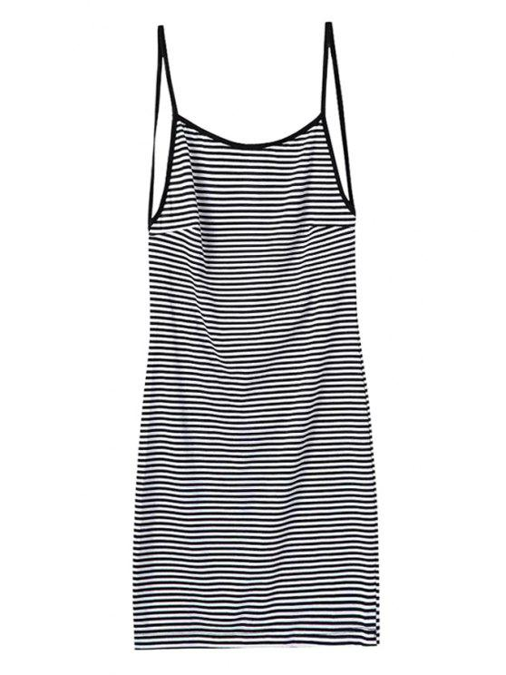 affordable Striped Spaghetti Straps Backless Dress - STRIPE M