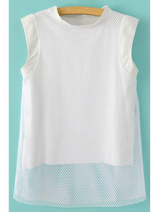trendy Mesh Splicing Sleeveless T-Shirt - WHITE M