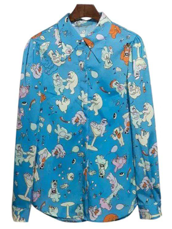 shop Turn-Down Collar Bear Print Shirt - BLUE S