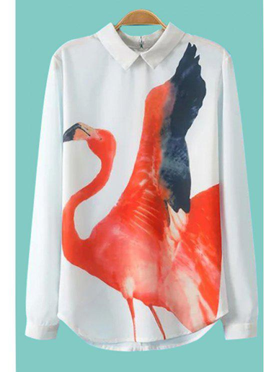 fancy Crane Print Long Sleeve Shirt - WHITE S