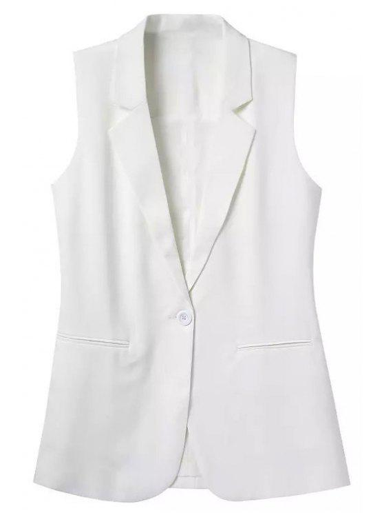 shops Lapel Solid Color Sleeveless Waistcoat - WHITE L
