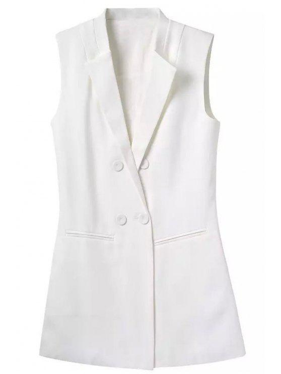 fancy Lapel Buttons Solid Color Waistcoat - WHITE M
