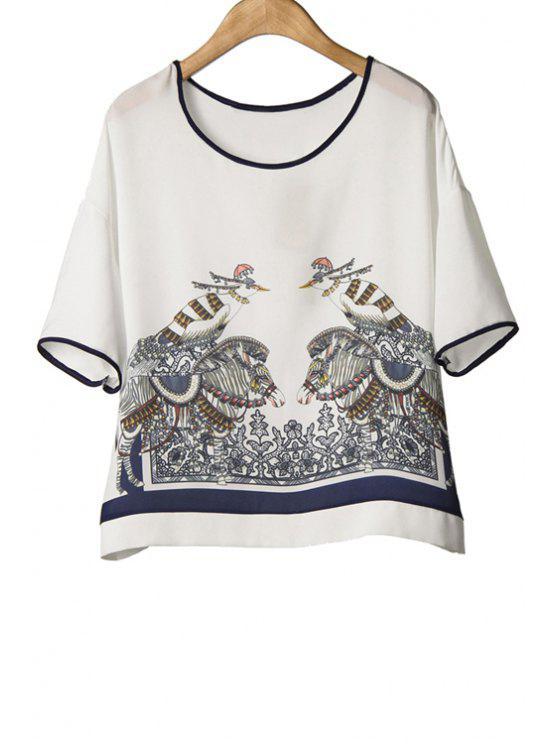 chic Bird Print Short Sleeve Chiffon T-Shirt - WHITE M