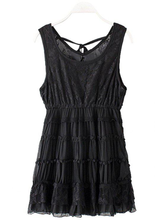 chic Lace Splicing Sleeveless Layered Dress - BLACK ONE SIZE(FIT SIZE XS TO M)