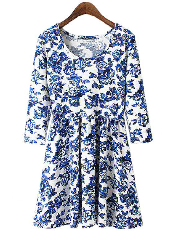 sale Blue Floral Print 3/4 Sleeve Dress - LIGHT BLUE S