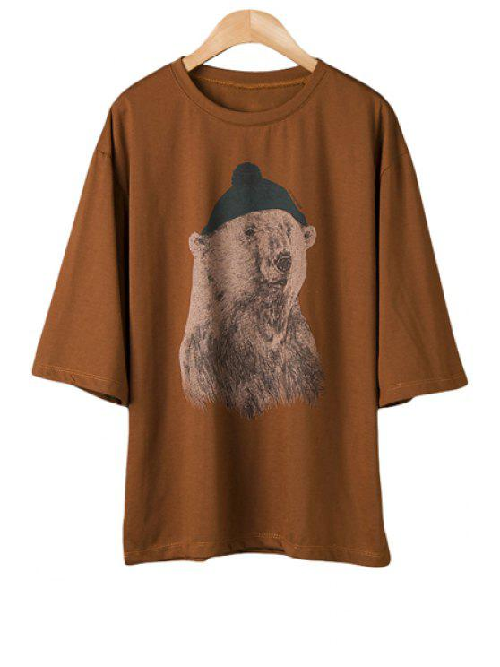 unique Polar Bear Half Sleeve T-Shirt - COFFEE ONE SIZE(FIT SIZE XS TO M)
