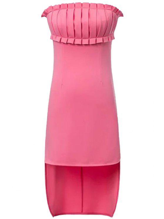 Solide Couleur Ruffle épissage robe asymétrique - ROSE PÂLE L
