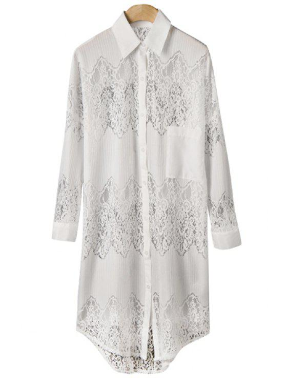 affordable Lace Hollow Spliced Shirt - WHITE S