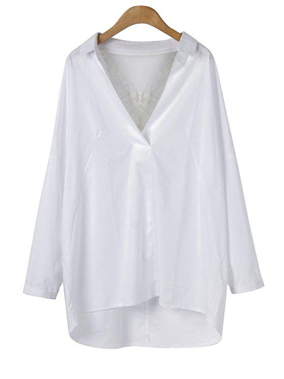 women V-Neck Lace Spliced Blouse - WHITE M