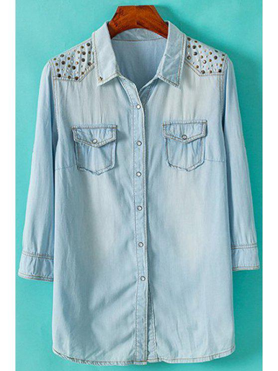 new Sequined Embellished Denim 3/4 Sleeve Shirt - LIGHT BLUE S
