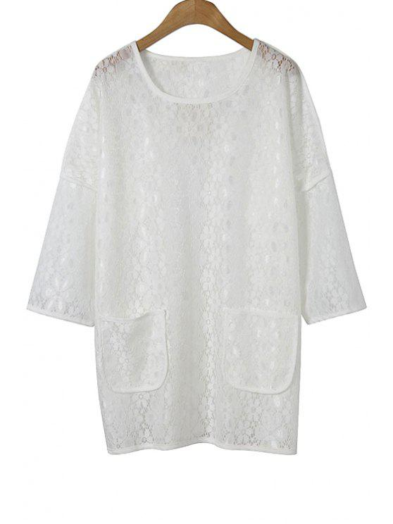 ladies Lace White 3/4 Sleeve Blouse - WHITE M
