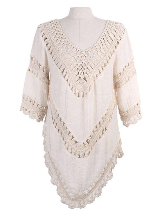 latest V-Neck Openwork 3/4 Sleeve Dress - APRICOT ONE SIZE(FIT SIZE XS TO M)