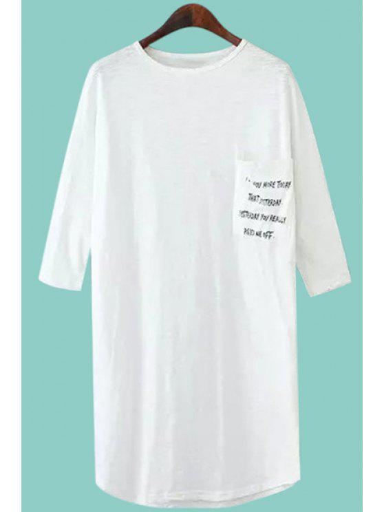 fashion Pocket Letter Print 3/4 Sleeve T-Shirt - WHITE M