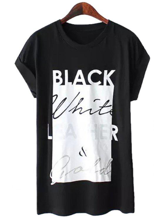 affordable Letter Print Color Block T-Shirt - BLACK S