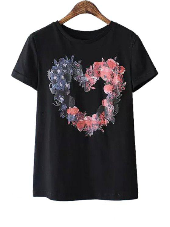 hot Heart Pattern Floral Print T-Shirt - BLACK S