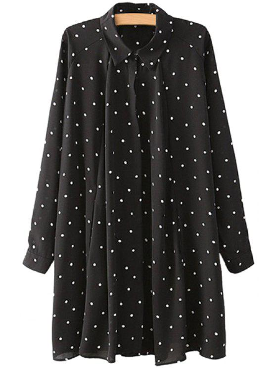 shops Turn-Down Collar Polka Dot Ruffle Dress - BLACK M