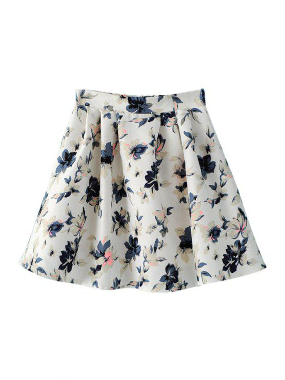outfits Floral Print Skirt - WHITE ONE SIZE(FIT SIZE XS TO M)