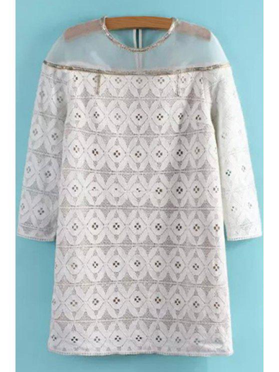 chic See-Through Openwork 3/4 Sleeve Dress - WHITE XS