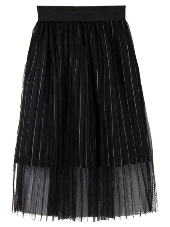 shops Striped Voile A-Line Skirt - BLACK M