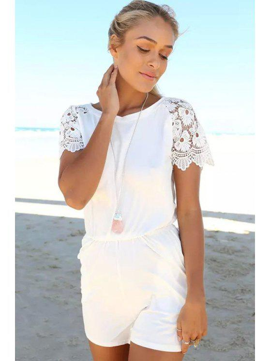 shop Lace Splicing Short Sleeve Romper - WHITE S