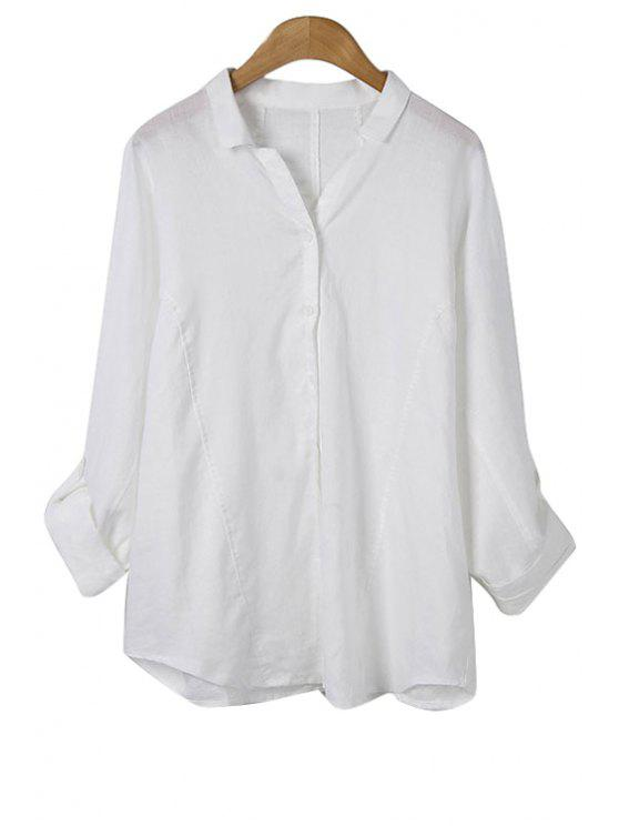 hot Solid Color V-Neck Long Sleeve Blouse - WHITE ONE SIZE(FIT SIZE XS TO M)