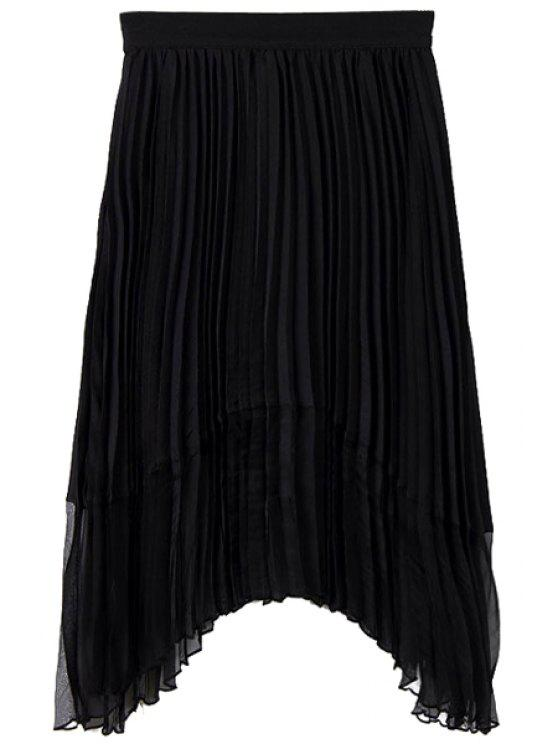 chic Solid Color Pleated A-Line Skirt - BLACK S