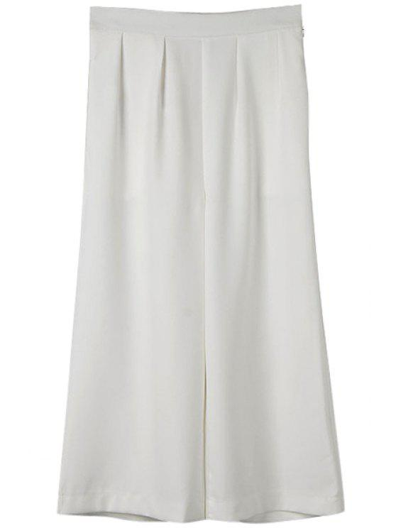 shop Solid Color Wide Leg Pants - WHITE S