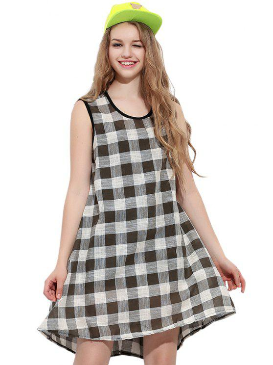 online Scoop Neck Plaid Sleeveless Dress - GREEN ONE SIZE(FIT SIZE XS TO M)