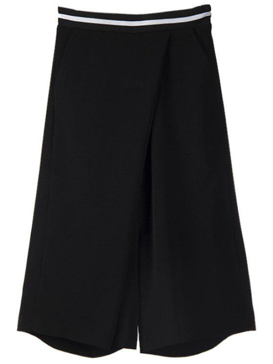 fancy Black Wide Leg Capri Pants - BLACK S